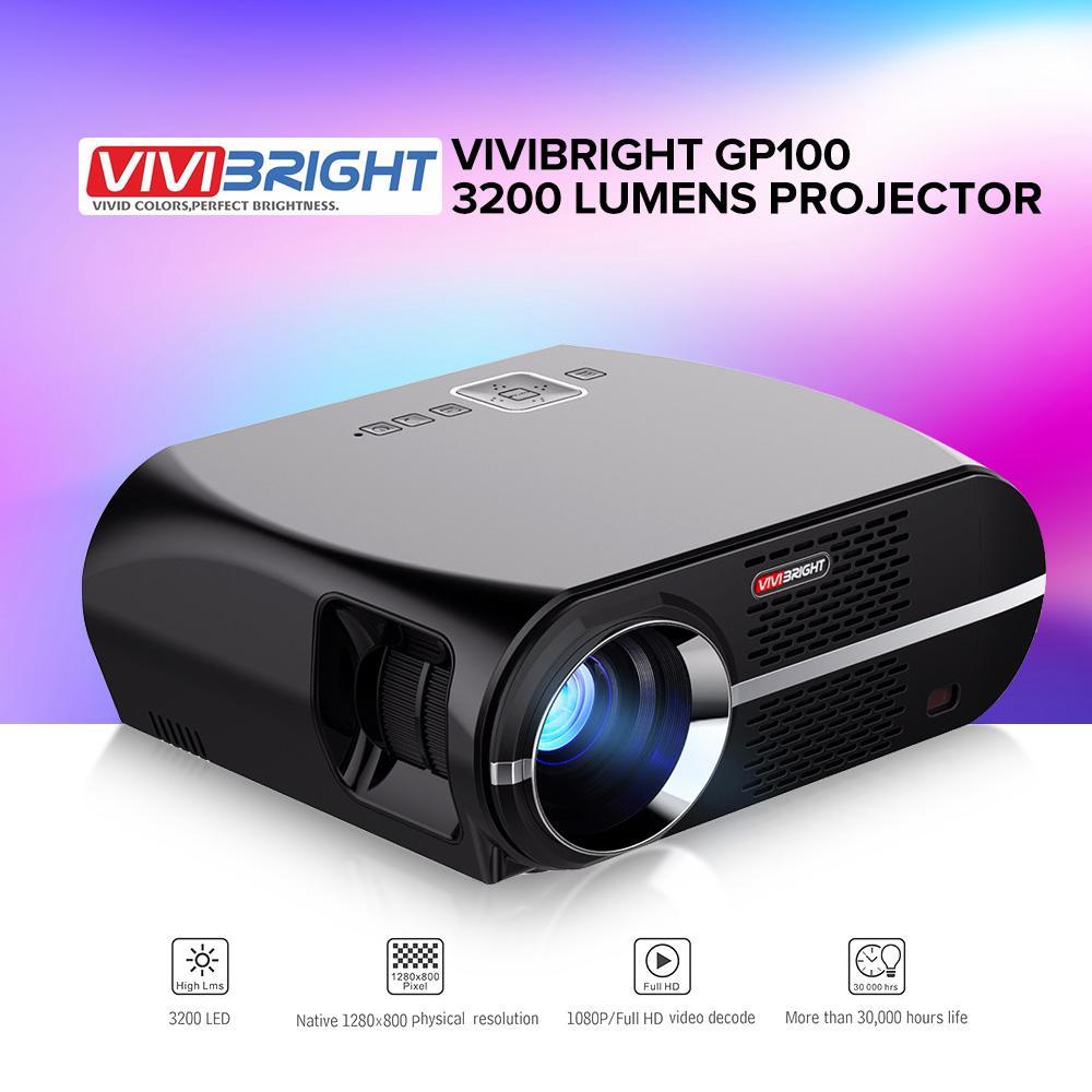 VIVIBRIGHT GP100 3200 Lumens Projector 4K Full HD LED Projector 1080P Home Theater Cinema Video Projectors