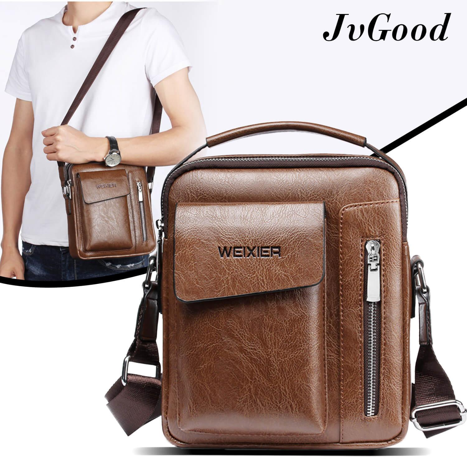 Jvgood Messenger Bags Pu Leather Sling Shoulder Bag Male Travel Casual Crossbody Small Flap Handbags
