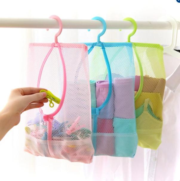 Set Of 2 Hanging Net Storage Mesh Bag Organizer (color May Vary) By Ezyshop.