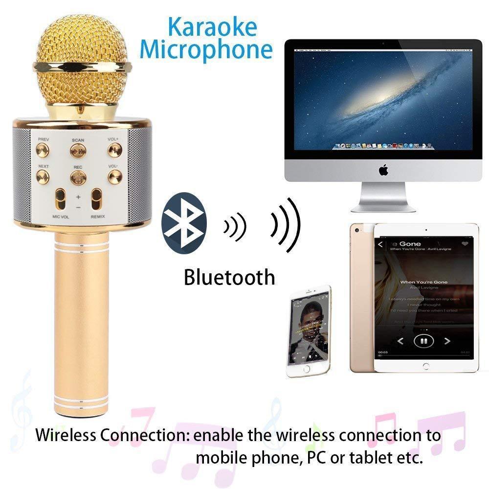 Microphone Wireless Karaoke Bluetooth Handheld Mic Speaker WS-858