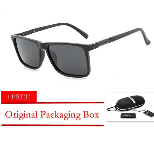 7d92c66262 HDCRAFTER Fashion Black Frame Sunglasses Men Polarized Driving Vintage  Shades Eyewear Oculos UV400 with Original Box