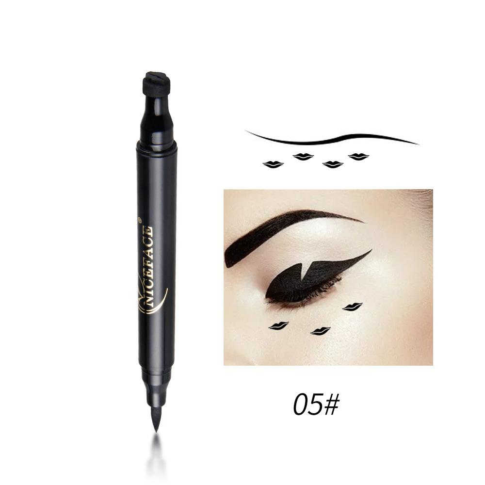 NICEFACE Double-end Fast Dry Waterproof Liquid Eyeliner with Stamp Pencils Long Lasting Black Stamp Eye Liner Pen Makeup Tools Philippines