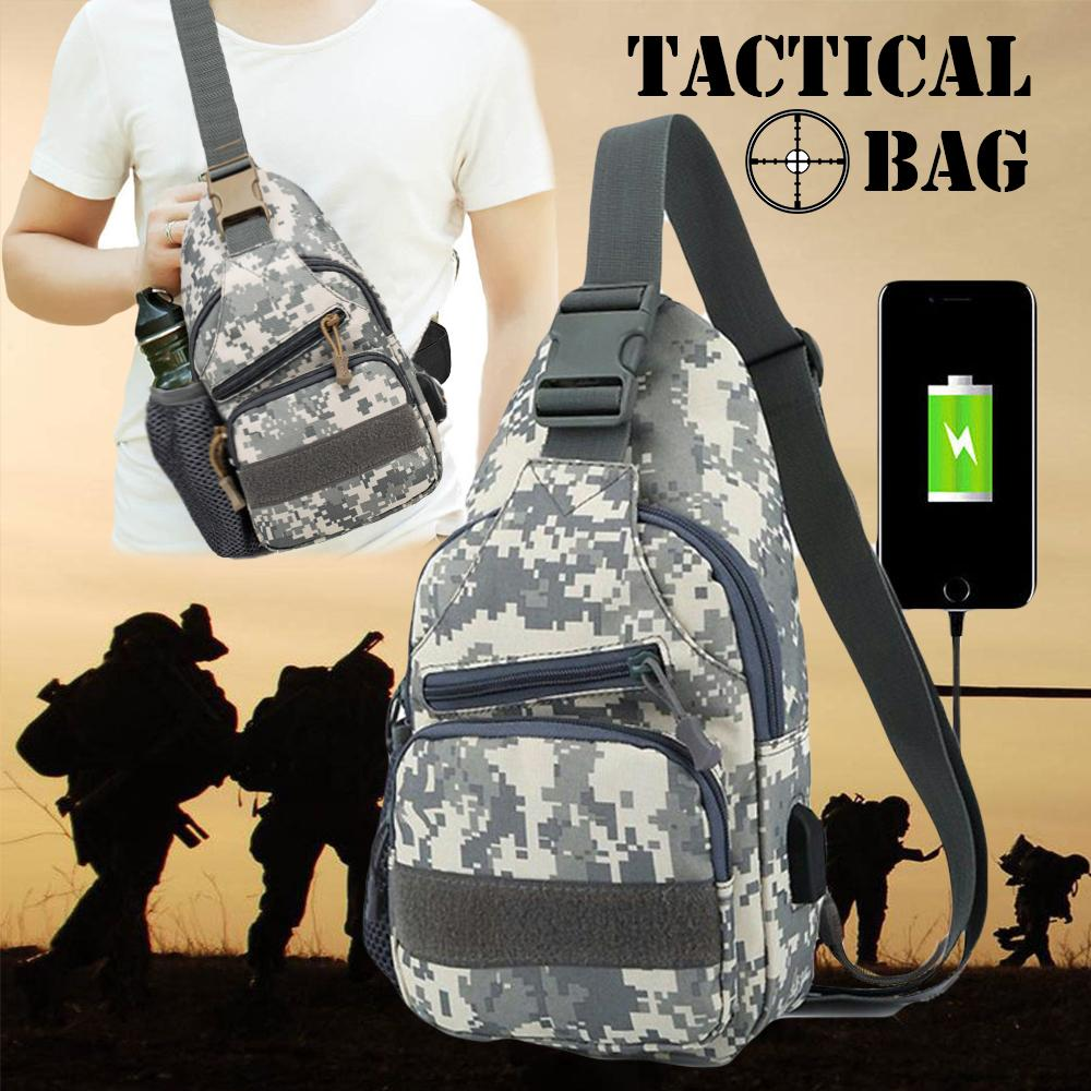 Men s Anti Theft Chest Tactical Sling Bag with USB Port for Powerbank 4b960d2fb3166