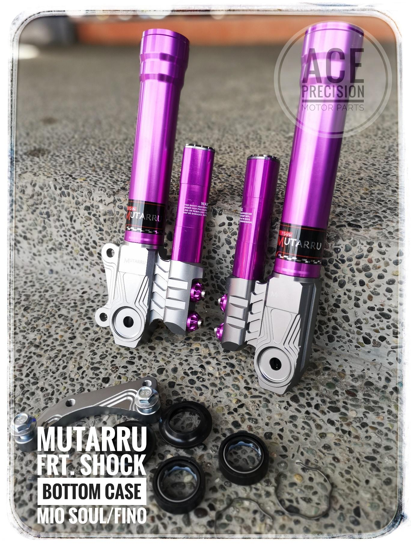 Mutarru Front Shock Bottom Case For Mio Sporty/amore/soul W/ Oil Seal, Fork Clip, Bracket For Stock Caliper, Caliper Bolt - Purple By Ace Precision Motor Parts.