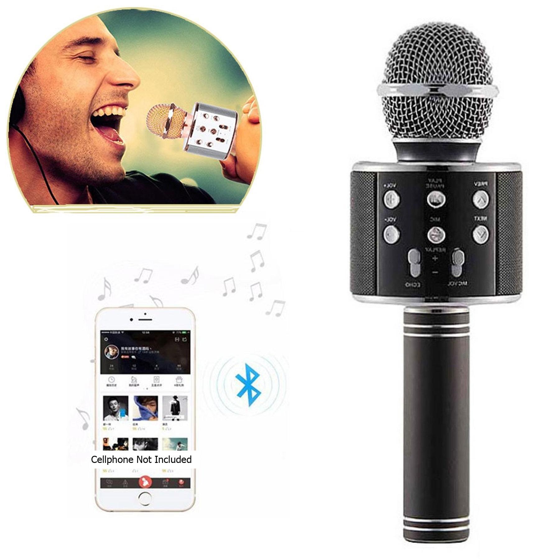 WS-858 Wireless Karaoke Bluetooth Microphone HIFI Speaker (Black))