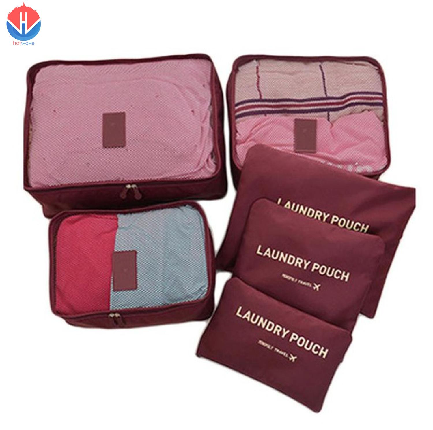 6 in 1 Travel Laundry secret pouch Clothes Luggage Organizer Set Packing Cube (Brown)