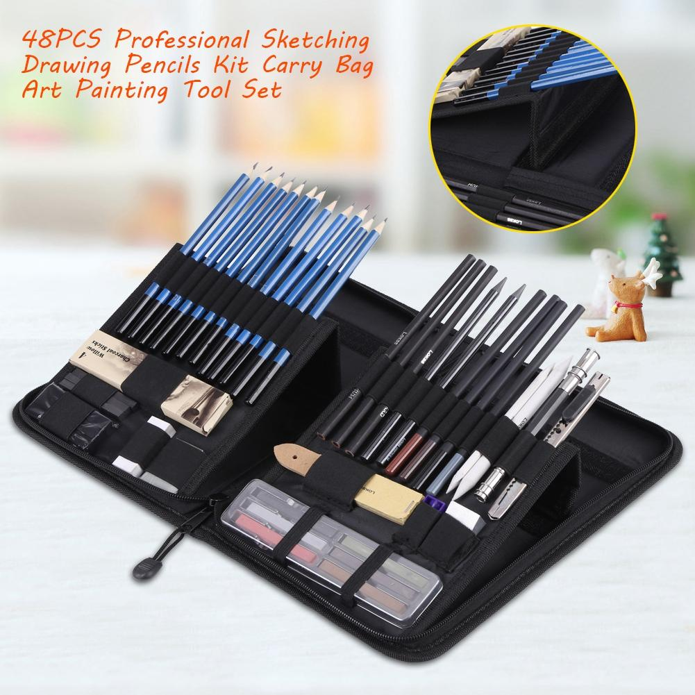 48PCS High Quality Sketching Drawing Pencils Kit Carry Bag Art Painting Tool Set Student Black -