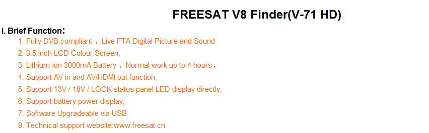 Freesat V8 Finder HD DVB-S2 High Definition satlink Satellite MPEG-4  3 5inch LCD Display - intl