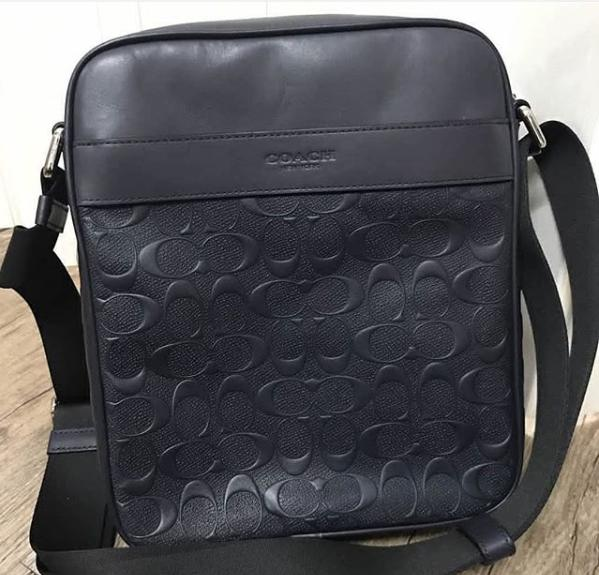 Authentic Coach Charles Flight Bag In Signature Crossgrain Leather F11741 -  Nickel Black 1fc13c8e50220