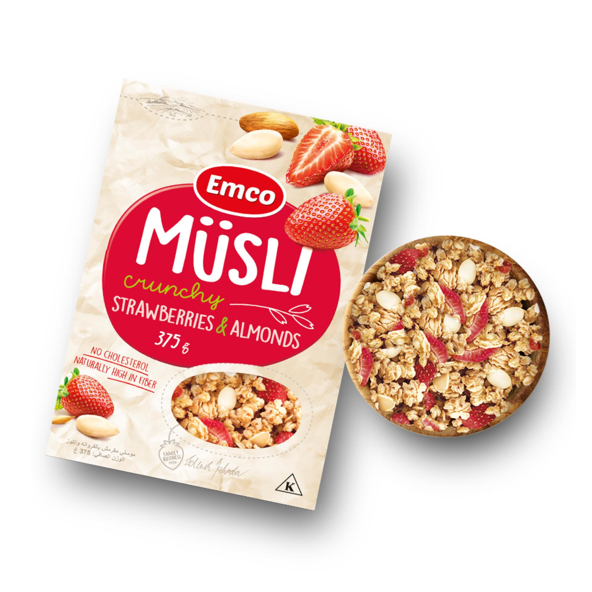 Musli Crunchy Oat Cereal with Strawberries and Almonds 375g