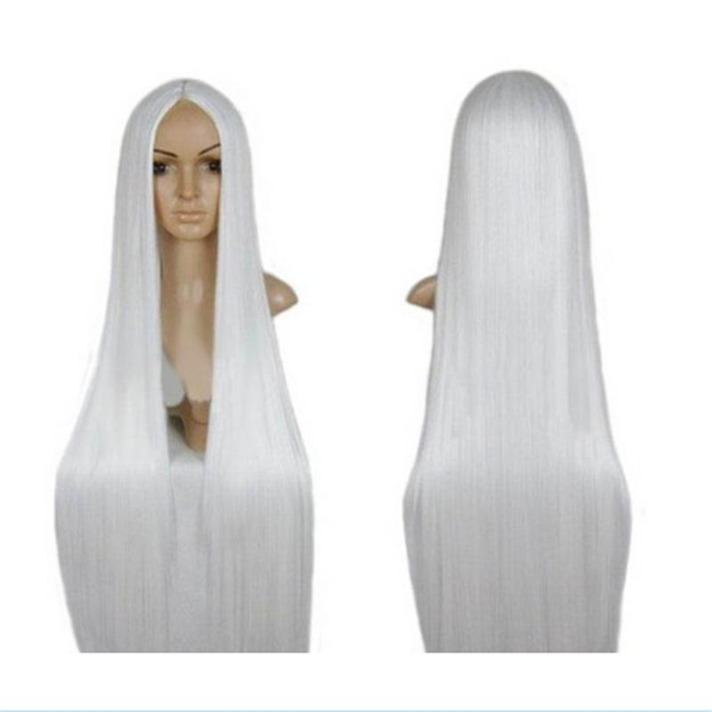 FC Cosplay Centre Parting Long Straight Hair Wig £¨White£© 100Cm