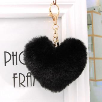 AMOG Heart Shape Fur Ball Bag Keychain for Car Key Ring Handbag Bag Decoration