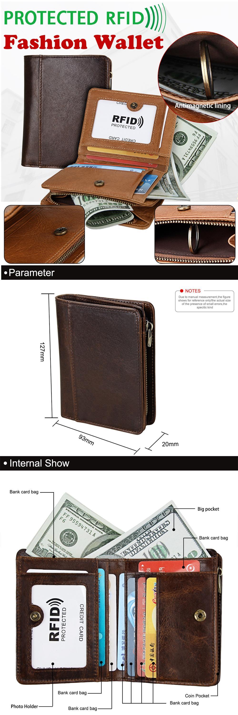 93d14d14d546 Specifications of ✅Q-shop Men's Wallet, Minimalist Vintage Cowhide Leather  Wallet With zipper