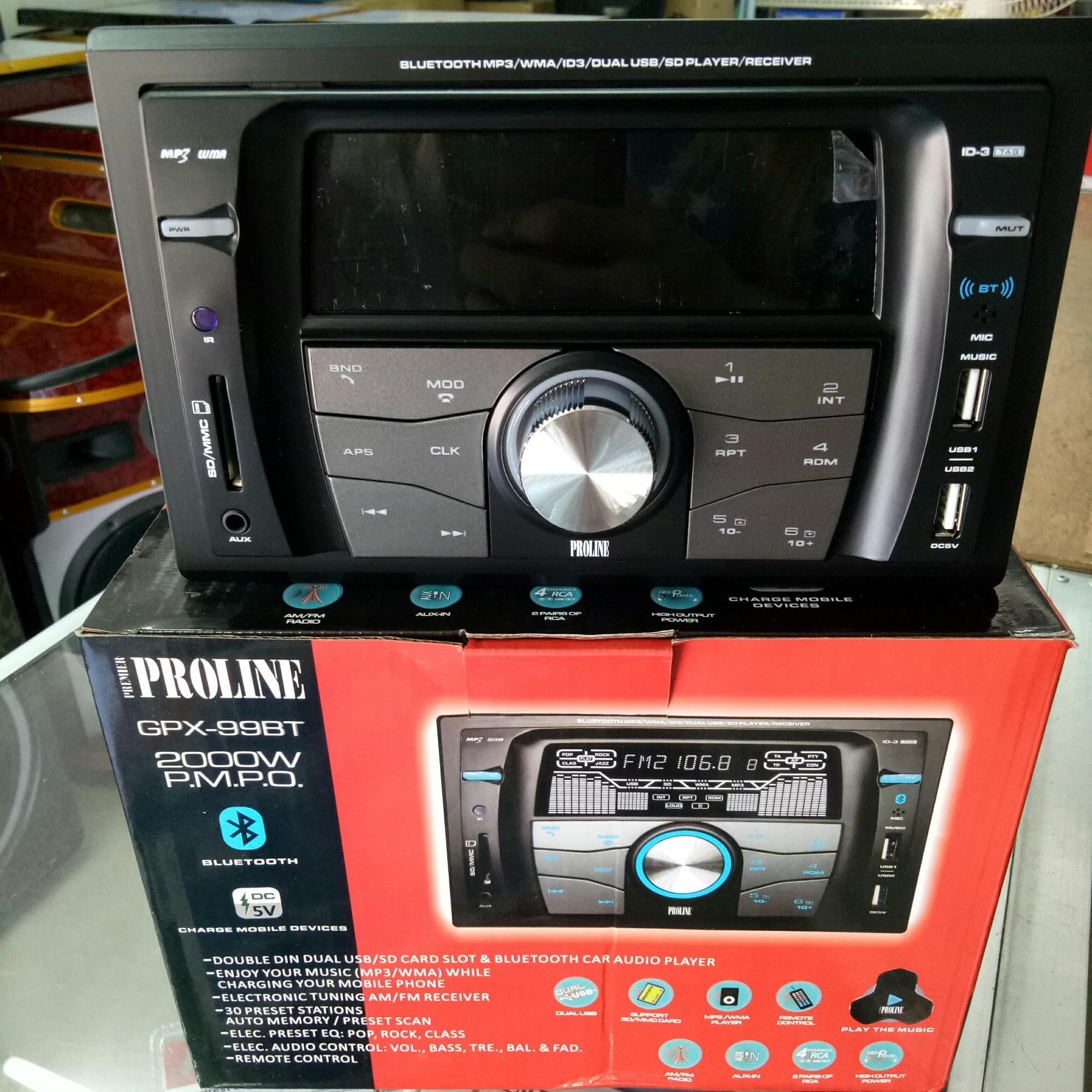 Proline GPX-99BT 2 Din Car Stereo w/ Bluetooth, Radio, USB/SD Card Slot