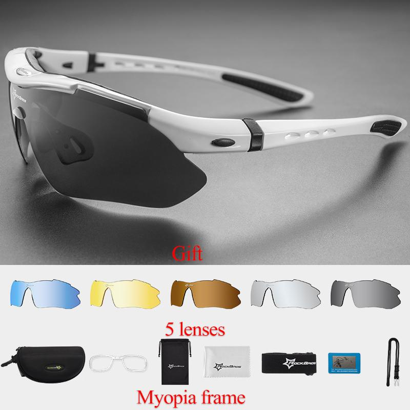 0a79e63cfb RockBros Polarized Cycling Sports Sunglasses with 5 Pairs of Lenses (White)  - intl