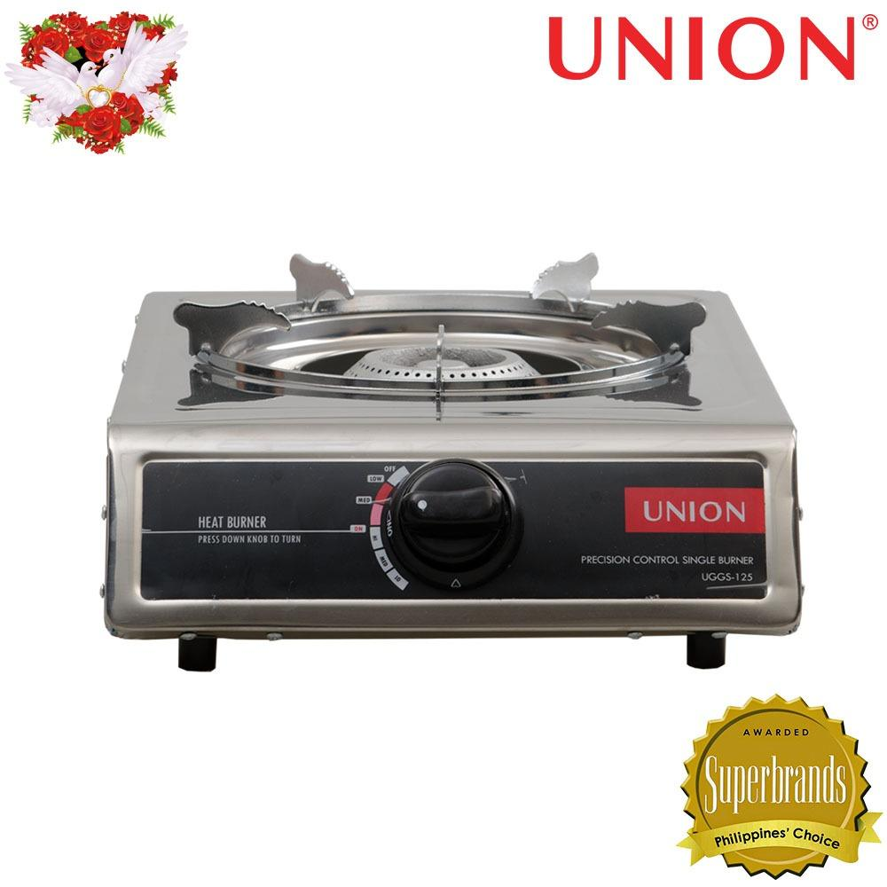Union UGGS-125 Single Burner Gas Stove (Silver/Black)
