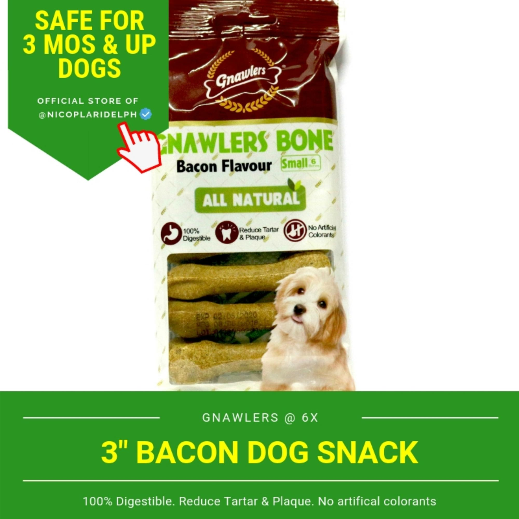 Gnawlers 3-Inch Bacon Dog Snack (108g) By Nicoplaridelph.