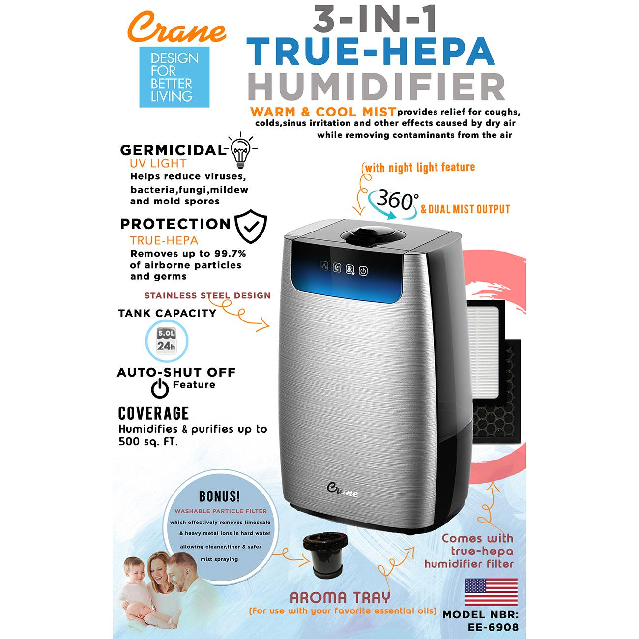 Crane Humidifier Philippines Air For Sale Automatic 3 In 1 True Hepa Warm Cool Mist