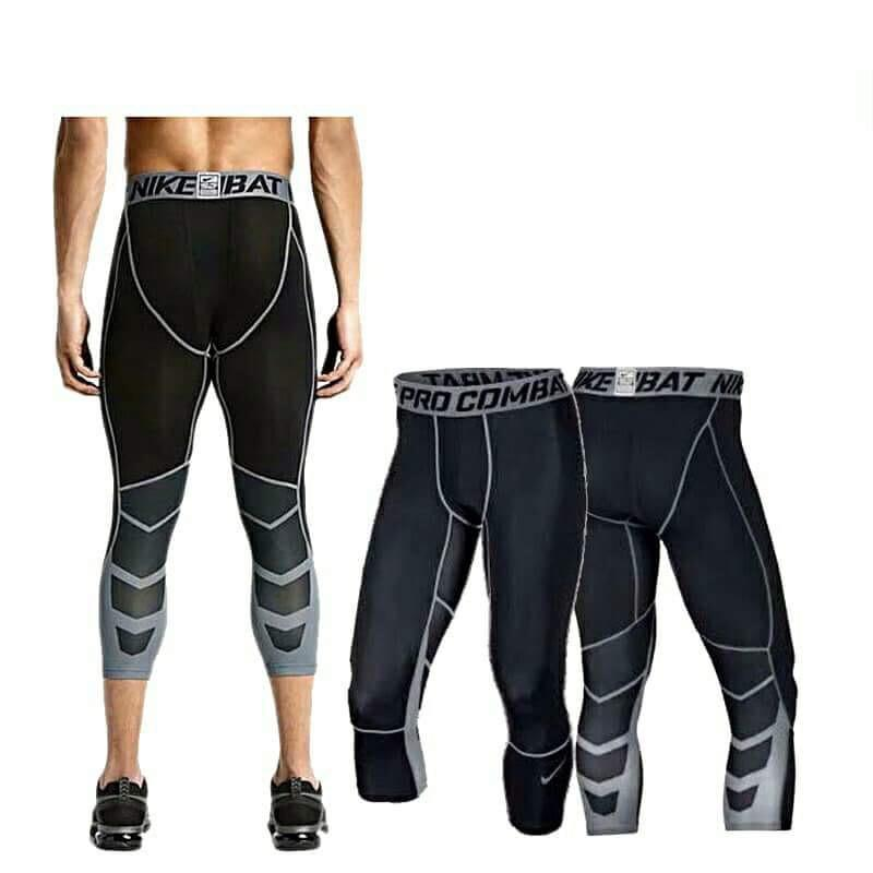 Pro Combat Compression 3/4 Tights 805 Black-Cool Dry Sports Tights Pants Baselayer Running Leggings By Sunvy Shop.