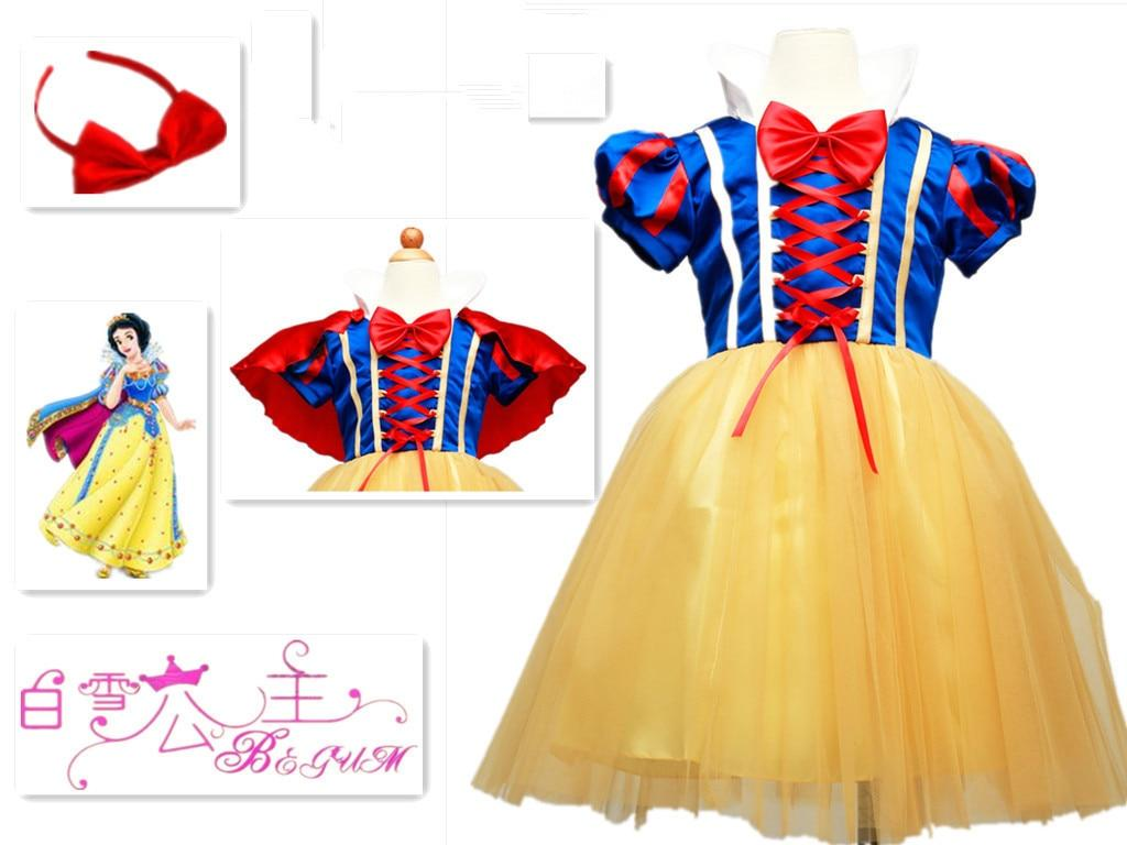 Great king new snow white princess dress with red cape and bow kid girl dresses