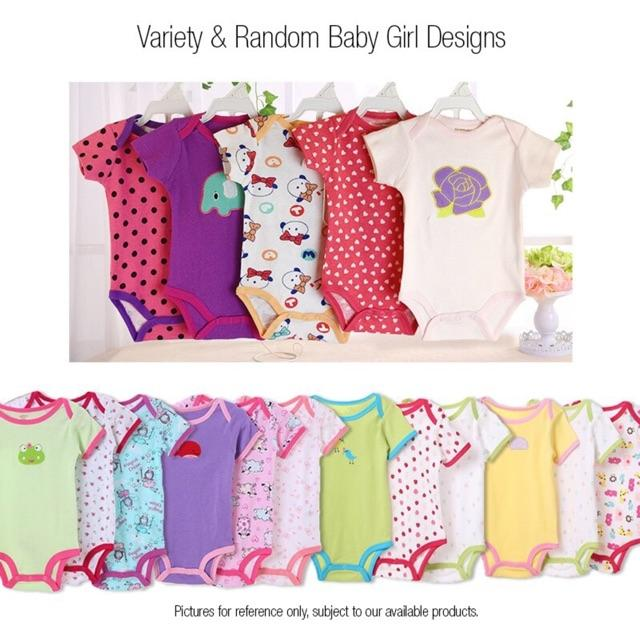 587282ab5f749 5 pcs Pack Carters Bodysuit 100% Cotton Baby Girl Onesie Romper Set (Random  Design)