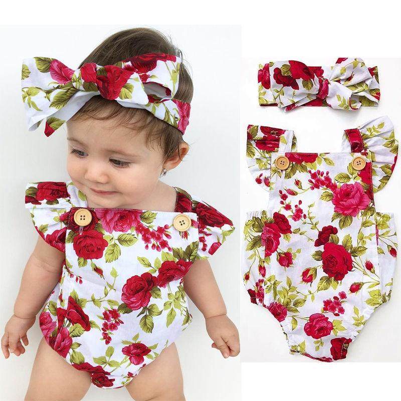 4340c045dc9 Newborn Baby Girl Clothes Flower Jumpsuit Romper Bodysuit + Headband Outfits  - intl
