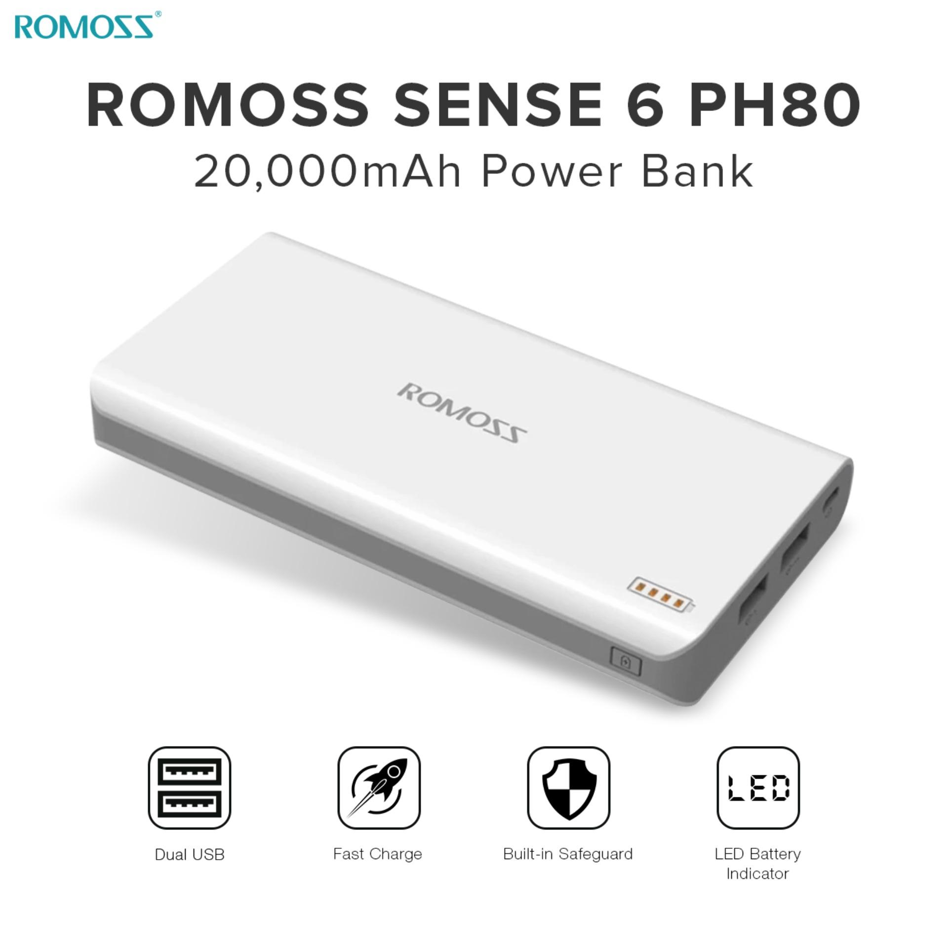 Power Bank For Sale Charger Prices Brands Specs In P 03 Samsung Travell Branded Asus 21a Micro Usb Romoss Sense 6 Ph80 20000mah Fast Charging White