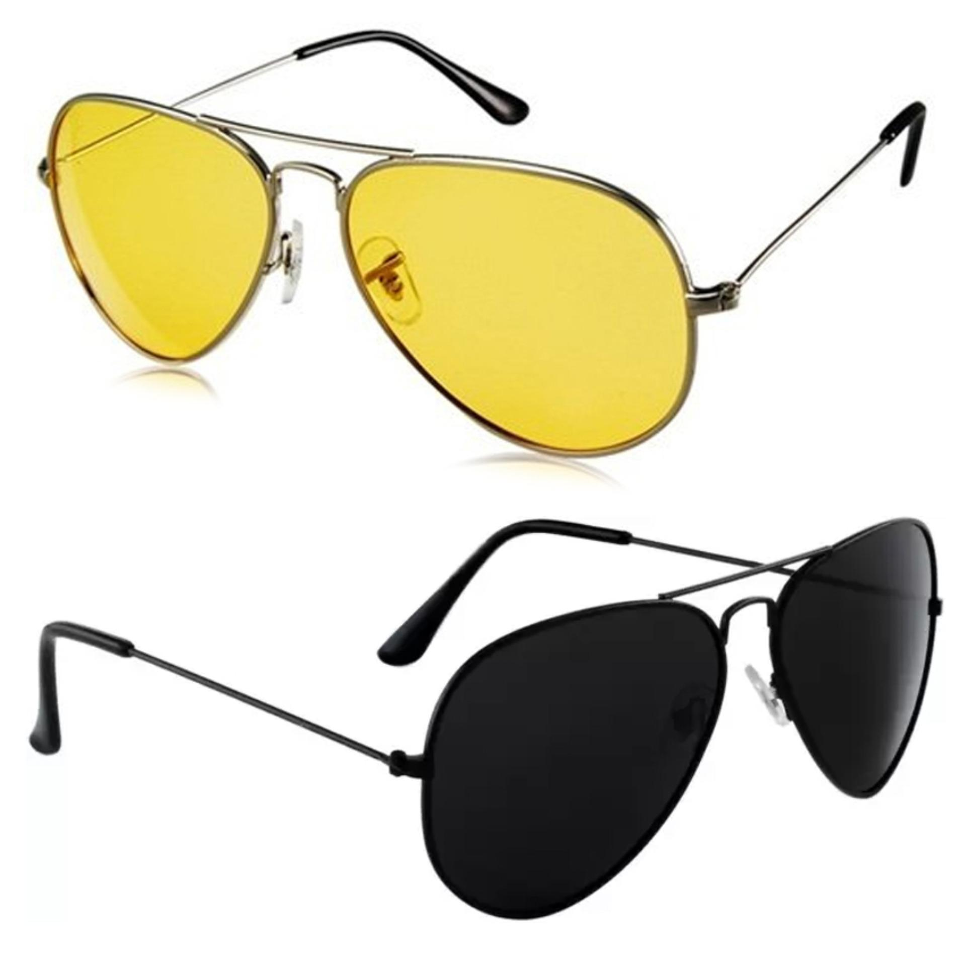 1f87e236b7 Night View Glasses Yellow and Aviator Black Lens for Day and Night Set of 2