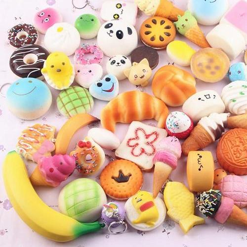 10pcs Random Kawaii Mini Soft Squishy Foods Doughnut Lovely Cake Cute Bread Phone Straps Charm Kids