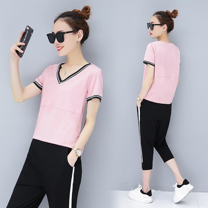 4b15c26096 Summer Running Sports women Suit 2018 Summer Wear New Style Leisure Capri Pants  Loose Short Sleeve