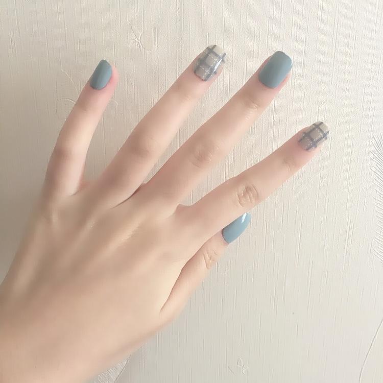 O-New 24pcs Korean Nail Art Fake Nails Blue Gray White Dotted Line False Nails