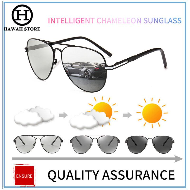 HAWAII Photochromic Sunglasses Men Polarized Driving Anti-glare Goggles  Discoloration Sun Glasses 813e31bb3b