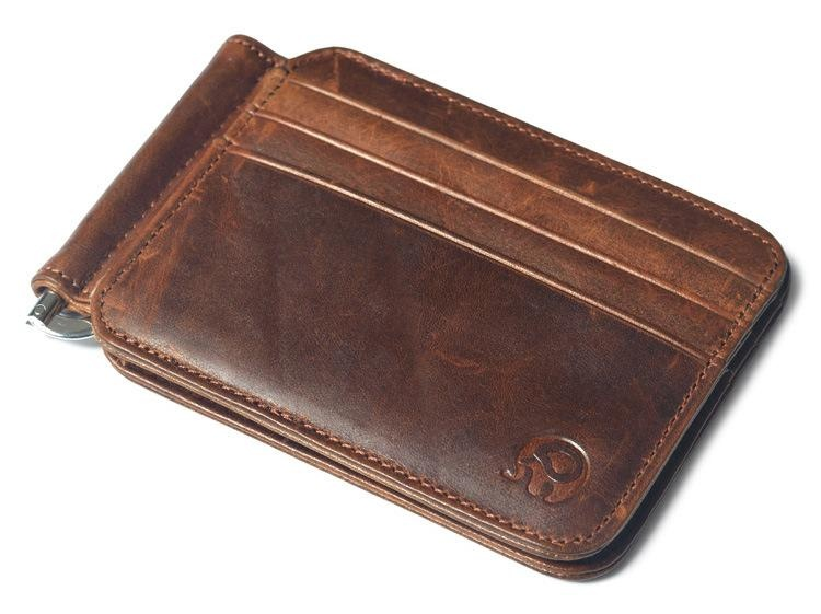 5bd81b63975c Vintage Money Clip Front Pocket Wallet Slim Minimalist Wallet RFID Blocking  Light Brown - intl