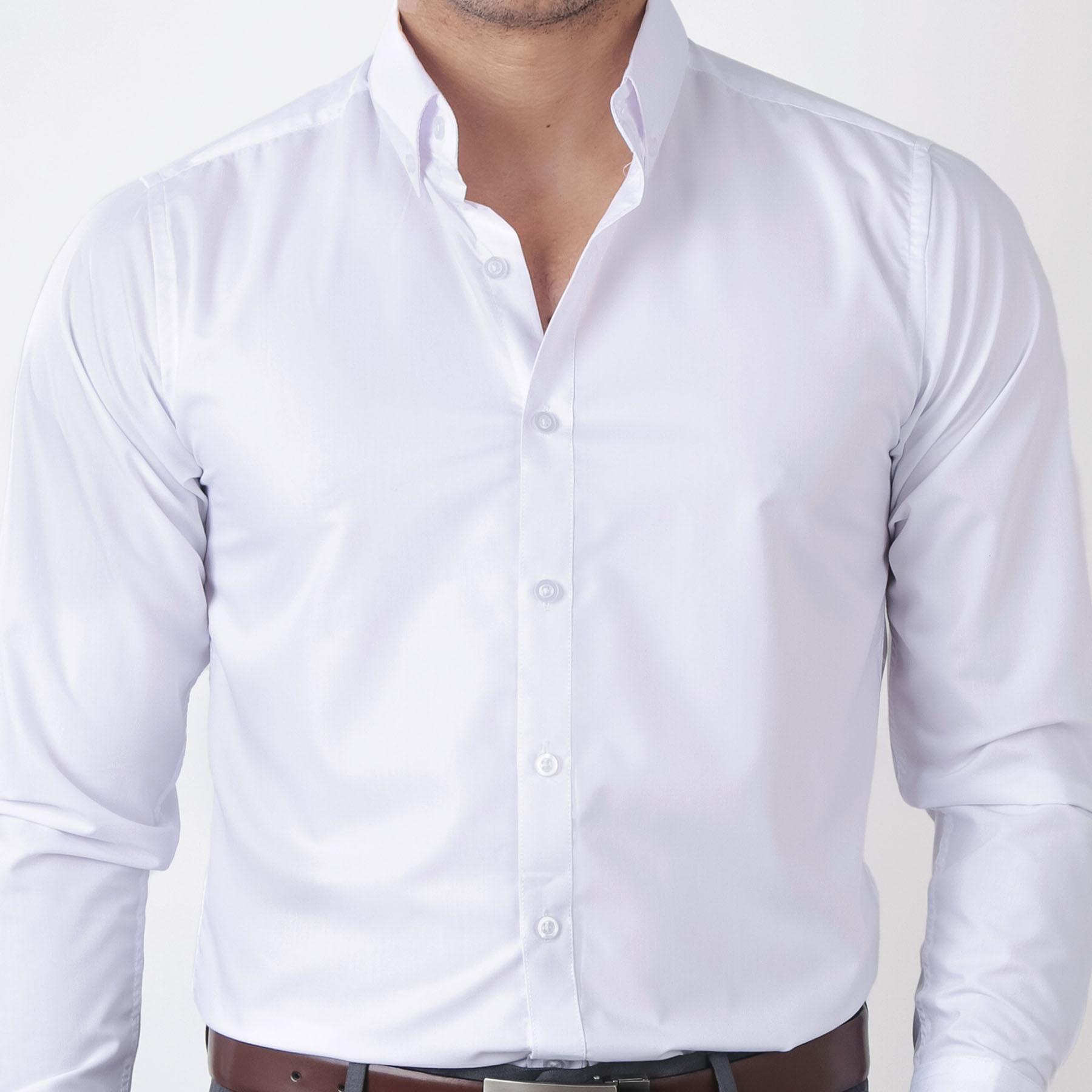 3491c025ea8 IDENTITY Mens Plain White Button Down Woven Smart Casual Formal Corporate  Wear Long Sleeve Shirt