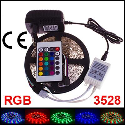 5M 3528 LED strip light RGB + 24keys Remote Control + with 12V 2A Power Adapter