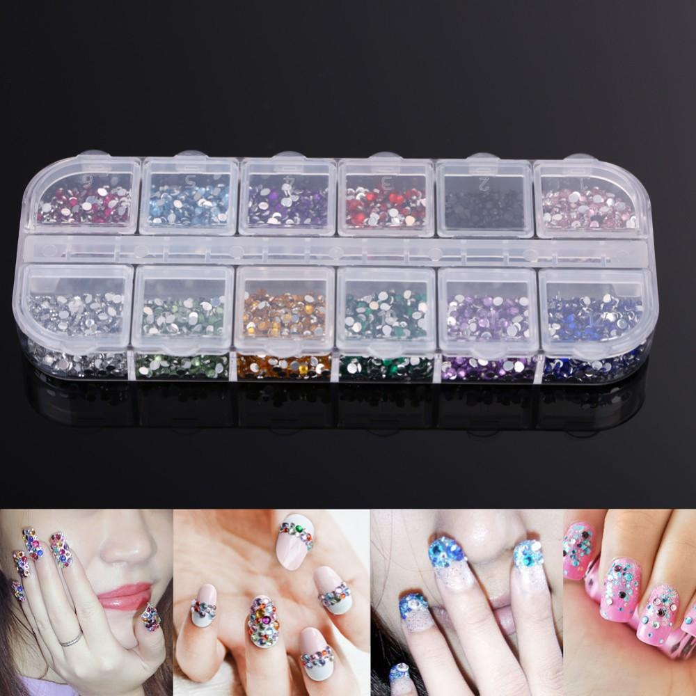 SODIAL(R) 2mm 3000 Rhinestones Nail Art Gems Mixed Colours Shapes in Case Philippines