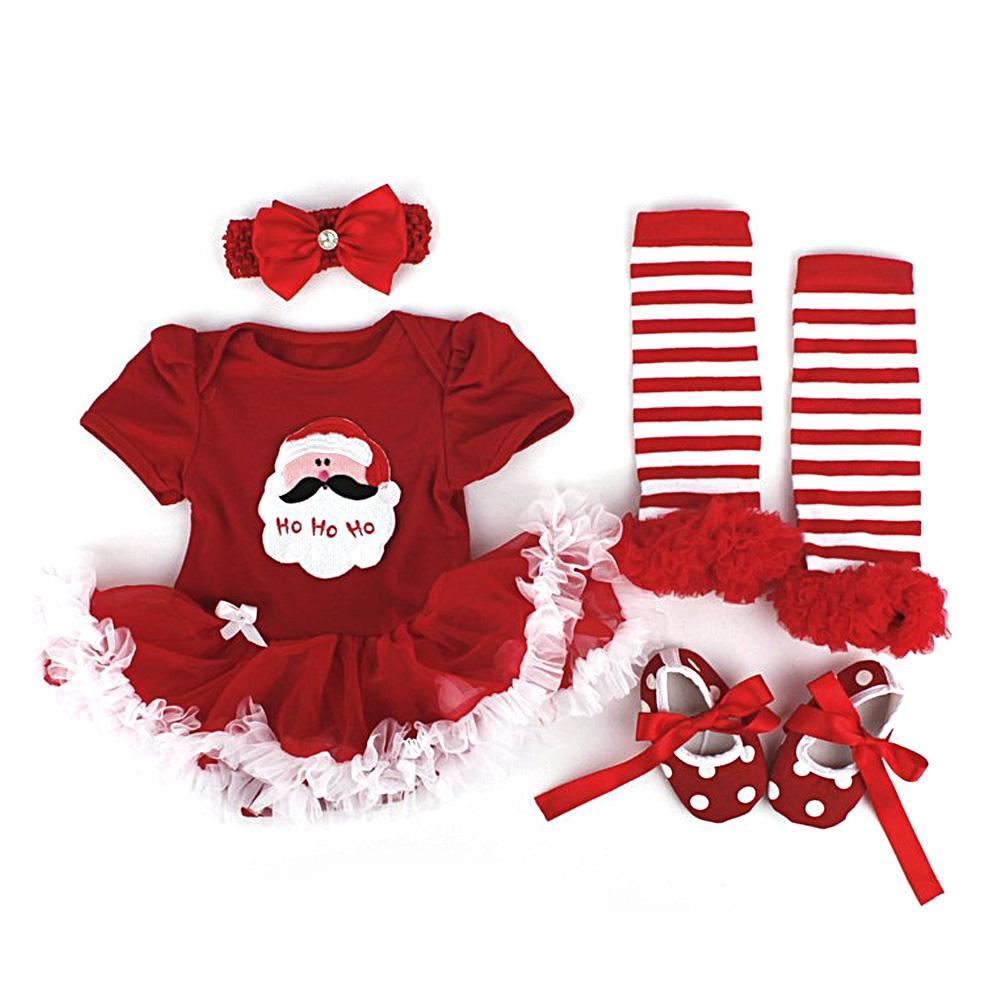 b1e4c6b79860 Cute Children's Christmas Santa Claus Lace-style Tutu Romper Dress Outfits  for Baby Girls Set