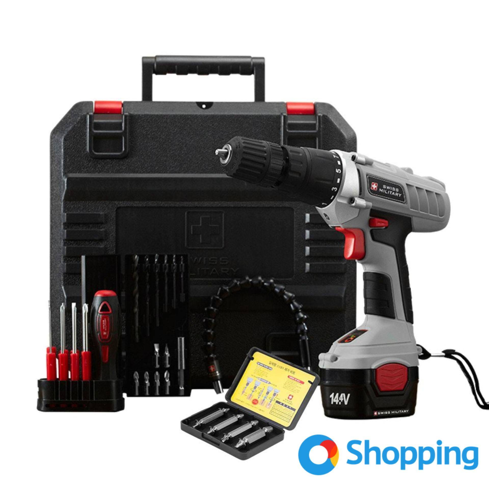 Swiss Military Cordless Hammer Drill Set With Free Bolt Remover
