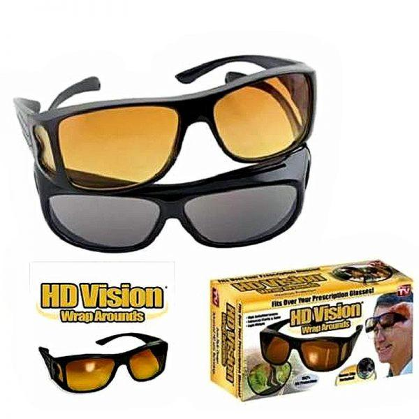 64a2ecbaa54 HD Vision Anti Glare Night View Driving Glasses Wrap Around Sunglasses Set  of 2