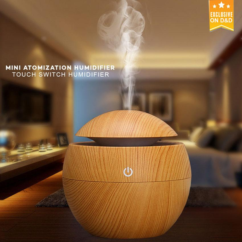 Nary Yx003 Wooden Mini Atomization Aromatherapy Humidifier With Interchanging Led Light By D&d.