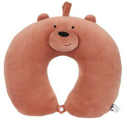 We Bare Bears Travel Pillow [Grizzly] (Brown) Miniso AUTHENTIC