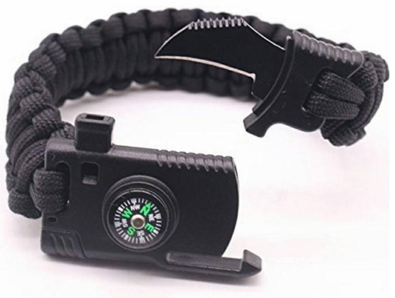 Paracord Bracelet With Hawkbill Knife, Firestarter, Compass And Whistle By Vanbushcraft.