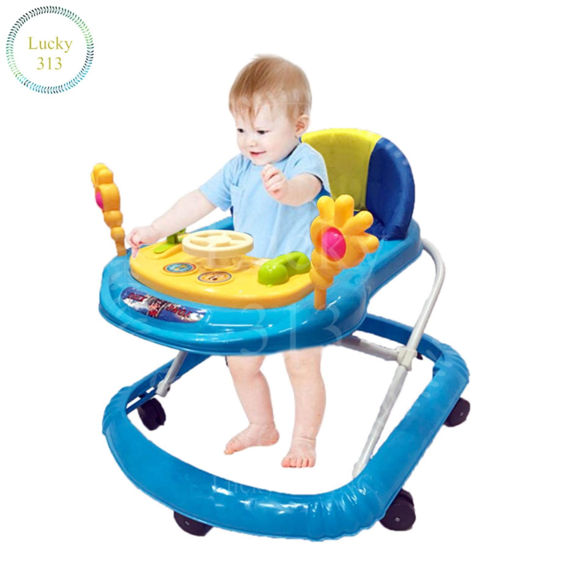 Cute Musical Soft Cushion Baby Walker With Car Steering Wheel Light Blue