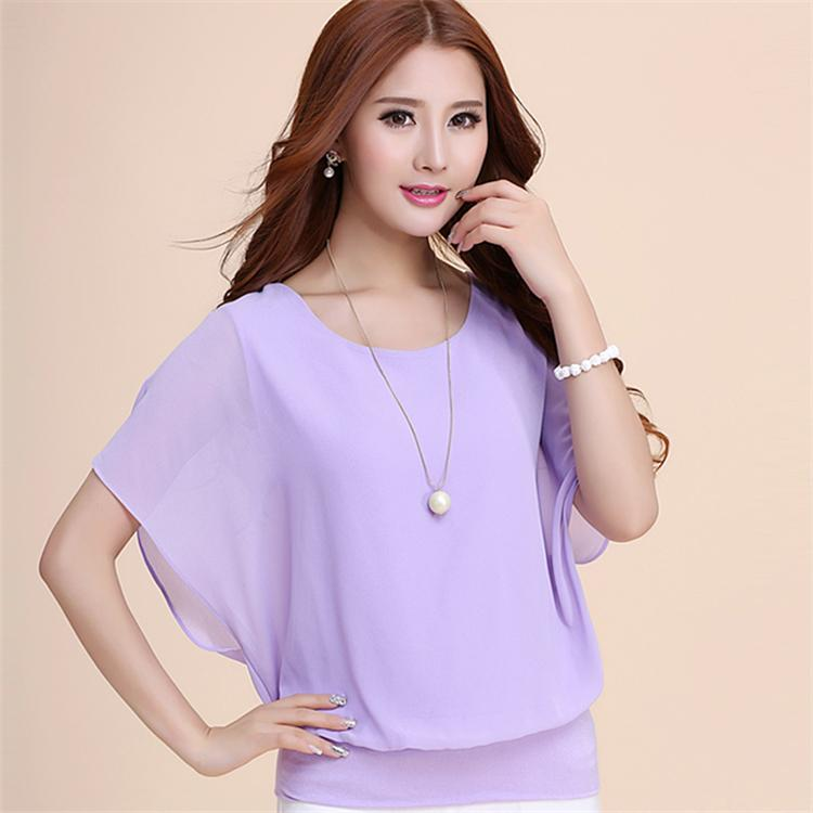Elegant Korean Style Loose Short-sleeved Chiffon Shirt Summer Wear for Women  New Style Large 7ce8ac980441