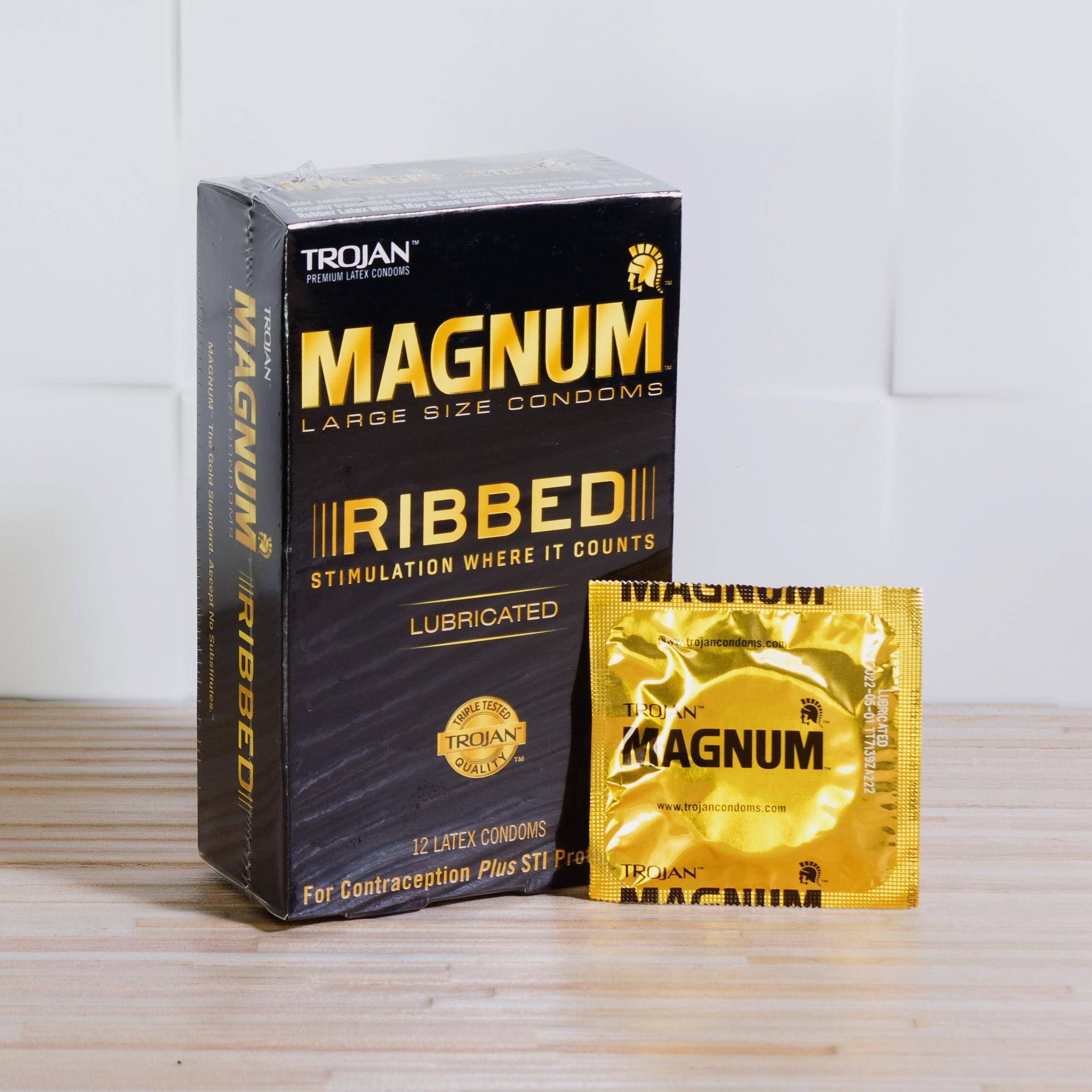 Trojan Magnum Ribbed Condom Large Size Lubricated 12 pieces