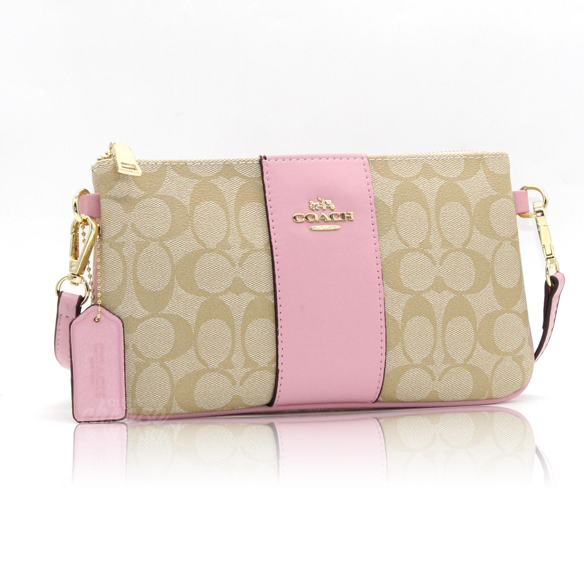 d162ad41fd ... bags wallets on carousell 0ea13 7b7c3  50% off authentic coach coated  canvas crossbody clutch sling signature bag pink 315bf 984d6