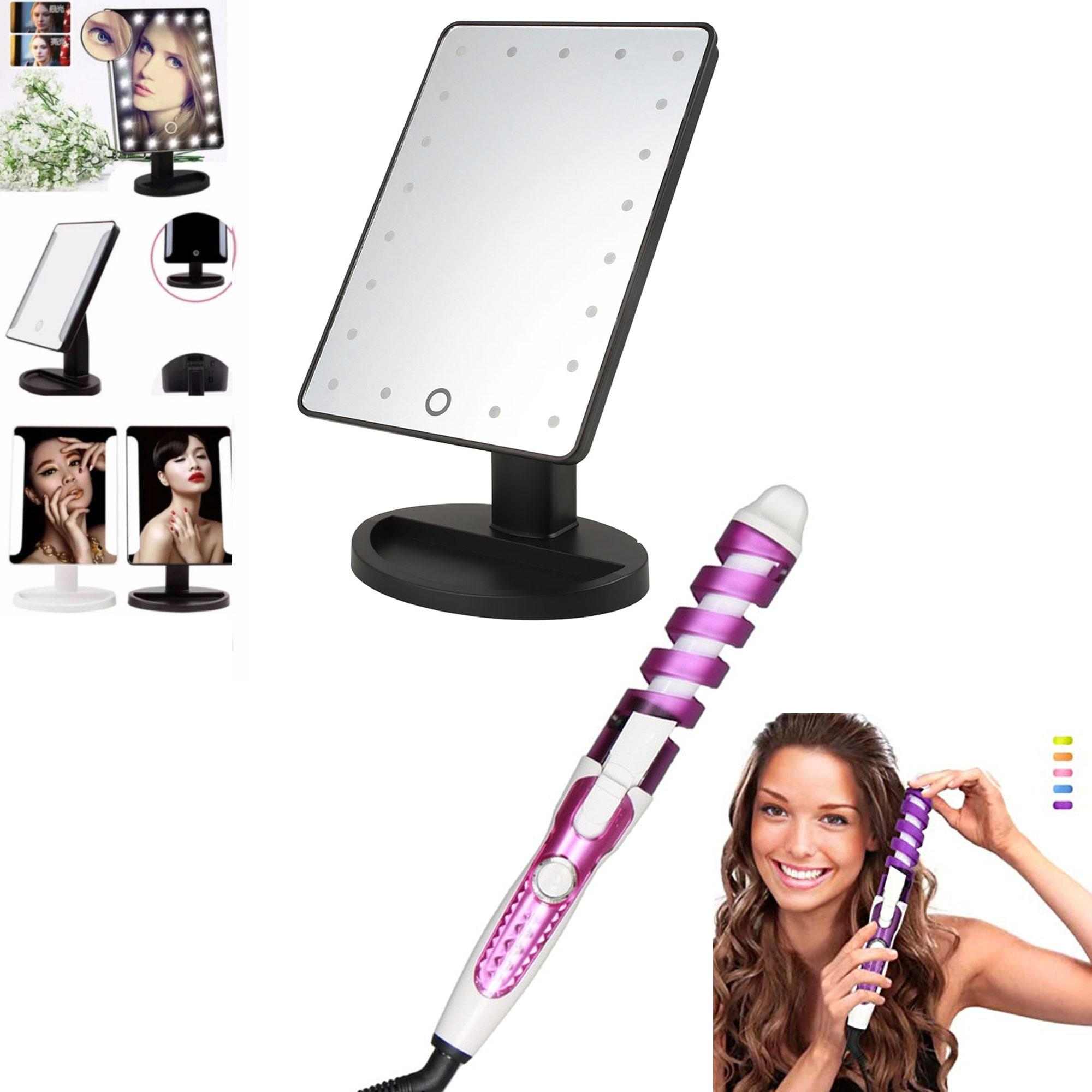 XR-1608 Make Up Vanity Illuminated Desktop Table Makeup Stand Large LED Mirror with 16 LED Light (Black) with RZ-118 Professional Hair Curler (Violet/White) Philippines