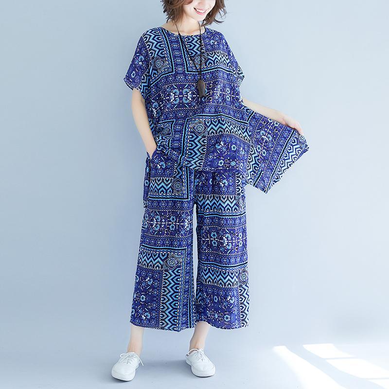 b889f3de05 Cotton Linen Printed Clothes women Suit Summer New Style MIMZF Large Size  Loose T-shirt
