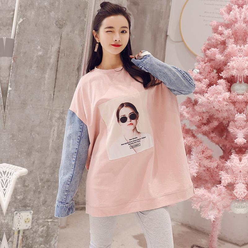 Originality Pure Cotton Long Sleeve Maternity Clothes T-shirt Cowboy Joint  Crew Neck Loose Fashion 0e19a80a3