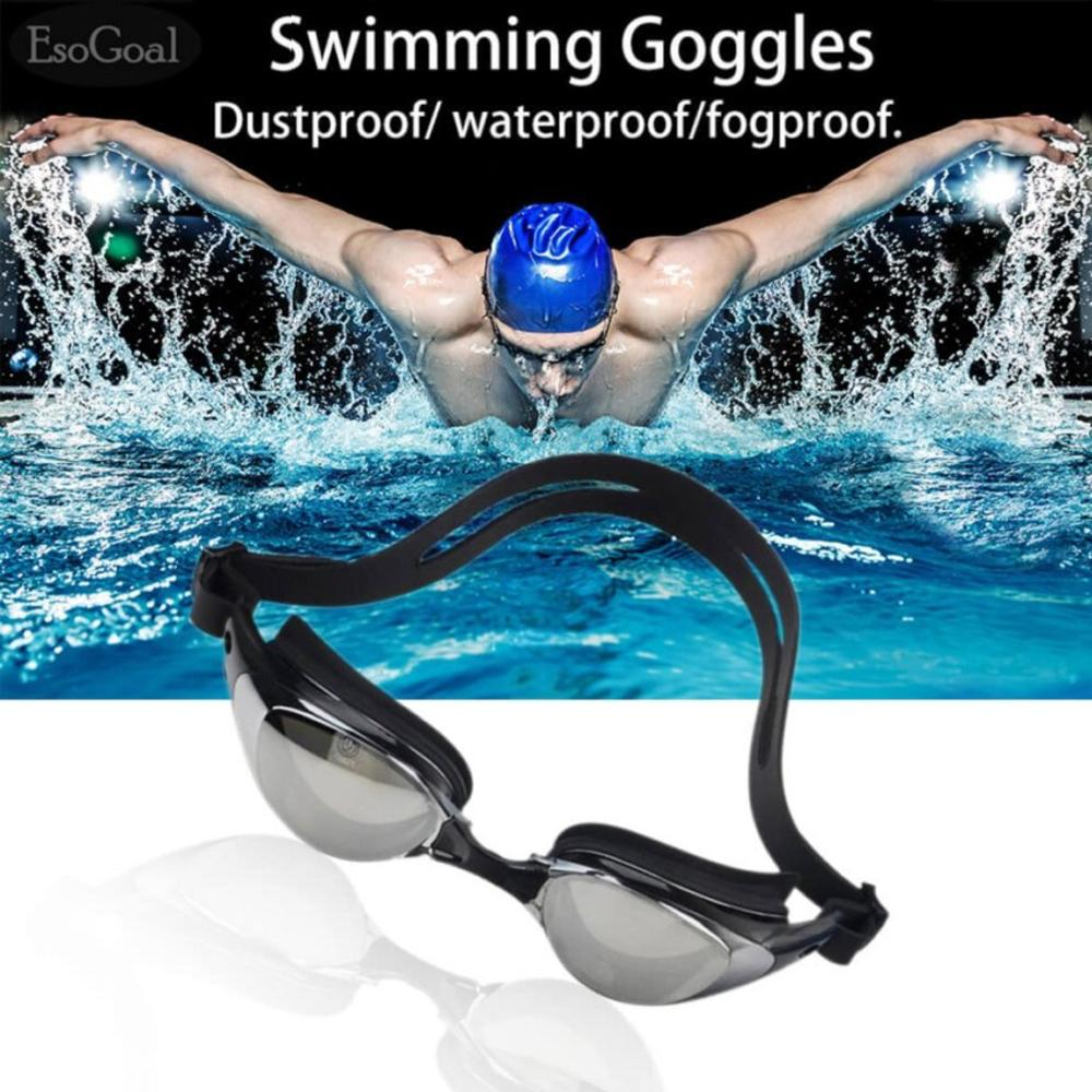 EsoGoal Swim Goggles Swimming Anti Fog UV Protection Waterproof Diving Glasses with Case (Black)
